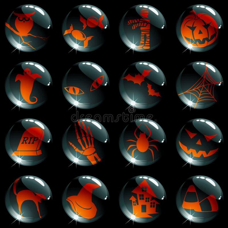 Reeks van 16 zwarte Halloween knopen stock illustratie