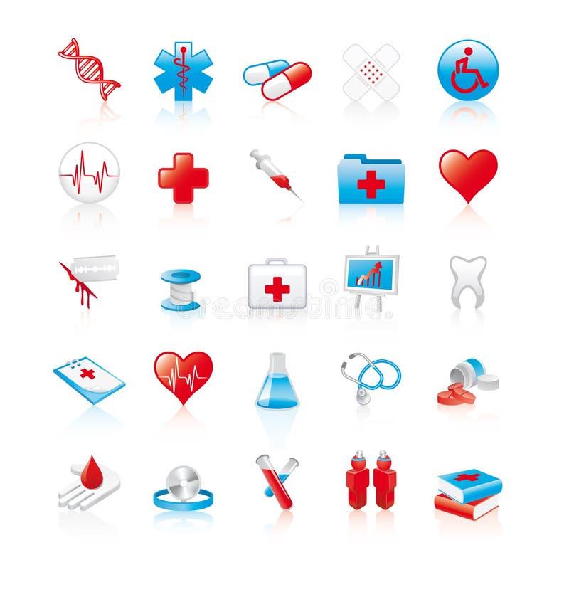 Reeks van 20 glanzende medische pictogrammen vector illustratie