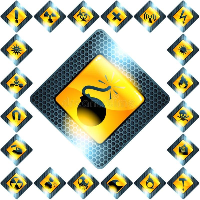 Reeks van 21 gele gevaartekens vector illustratie