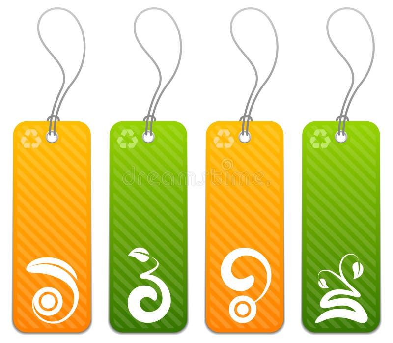 Reeks van 4 groene en oranje markeringen vector illustratie