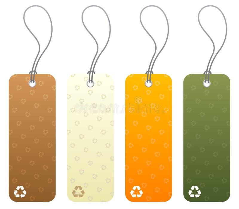 Reeks van 4 markeringen met het recycling van pictogrammen stock illustratie