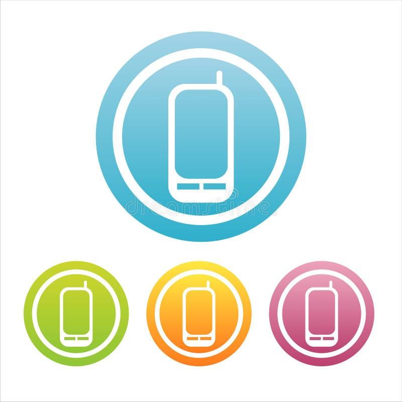 Reeks van 4 mobiele telefoontekens vector illustratie
