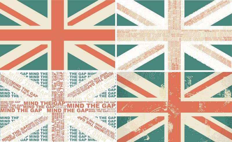 Reeks van 4 retro vlaggen van het UK stock illustratie