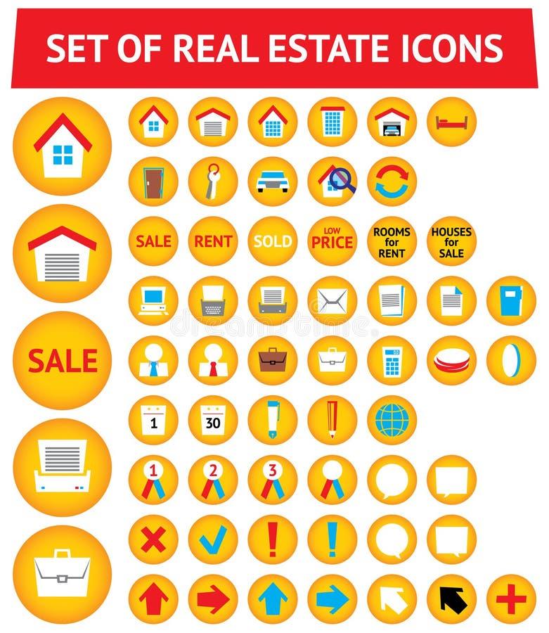 Reeks van 56 onroerende goederenpictogrammen royalty-vrije illustratie