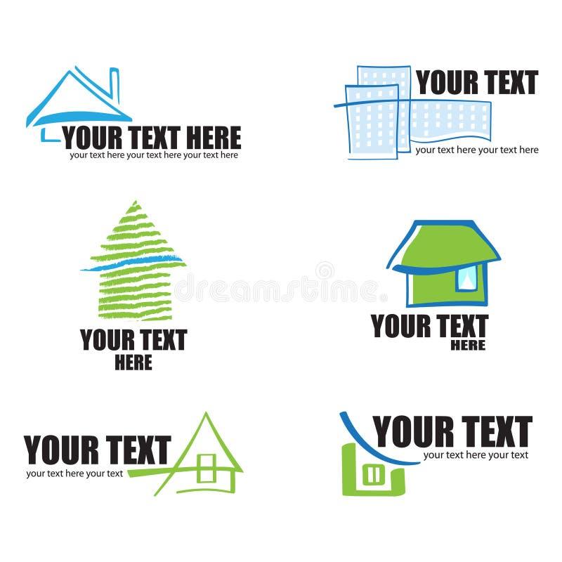 Reeks van 6 pictogrammen en ontwerp van de bouwonroerende goederen ele stock illustratie