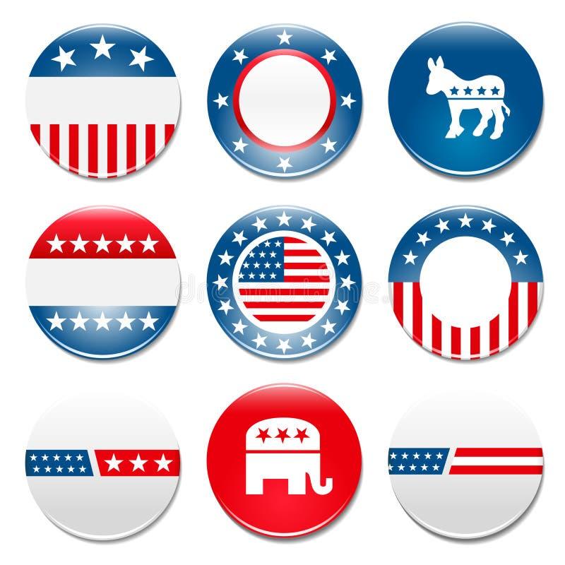 Reeks van 9 kentekens van de verkiezingscampagne vector illustratie