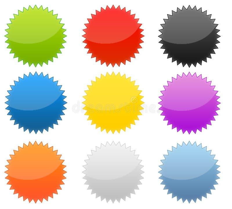 Reeks van 9 Web 2.0 Glanzende Knopen Starburst