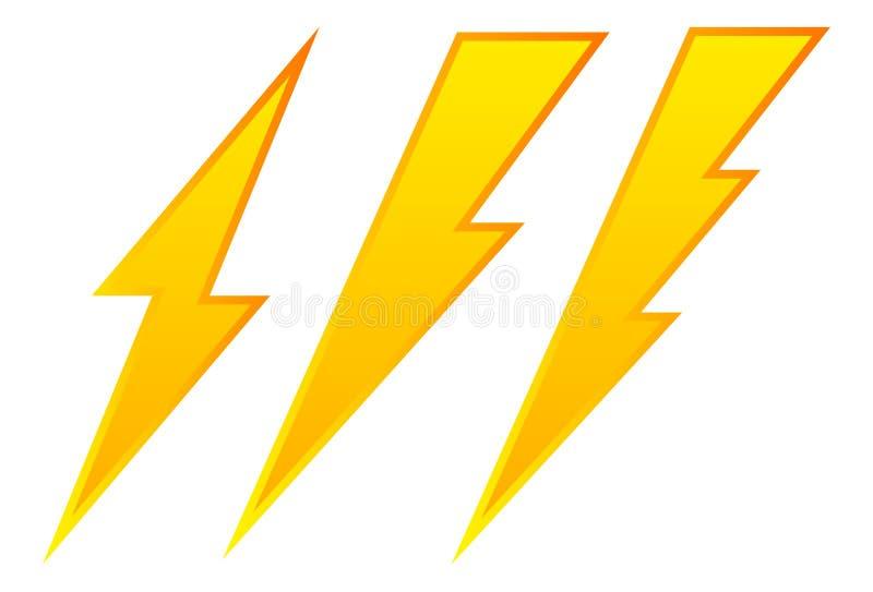 Reeks van 3 aanstekende bout, vonkenpictogram Elektriciteitstekens royalty-vrije illustratie
