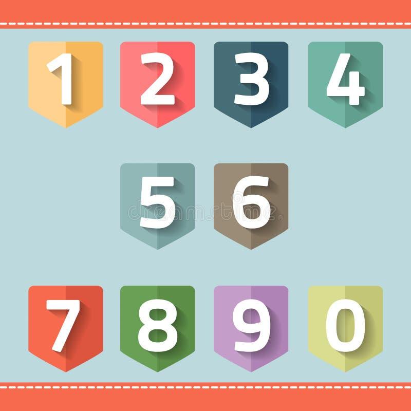 Reeks van aantal op een vlag vector illustratie