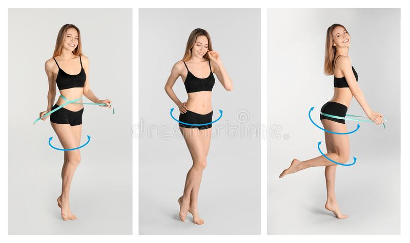 Reeks van aantrekkelijke jonge vrouw met slank lichaam in ondergoed stock afbeelding