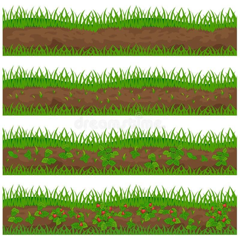 Reeks van aardbeiaanplanting voor een landbouwbedrijf op wit wordt geïsoleerd dat stock illustratie