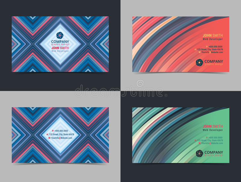 Reeks van abstract creatief de lay-outmalplaatje van het adreskaartjeontwerp met kleurrijke achtergrond Moderne Achtergronden royalty-vrije illustratie