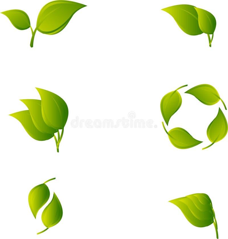 Reeks van abstract groen blad royalty-vrije illustratie