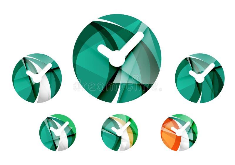 Reeks van abstract horlogepictogram, zaken logotype royalty-vrije illustratie