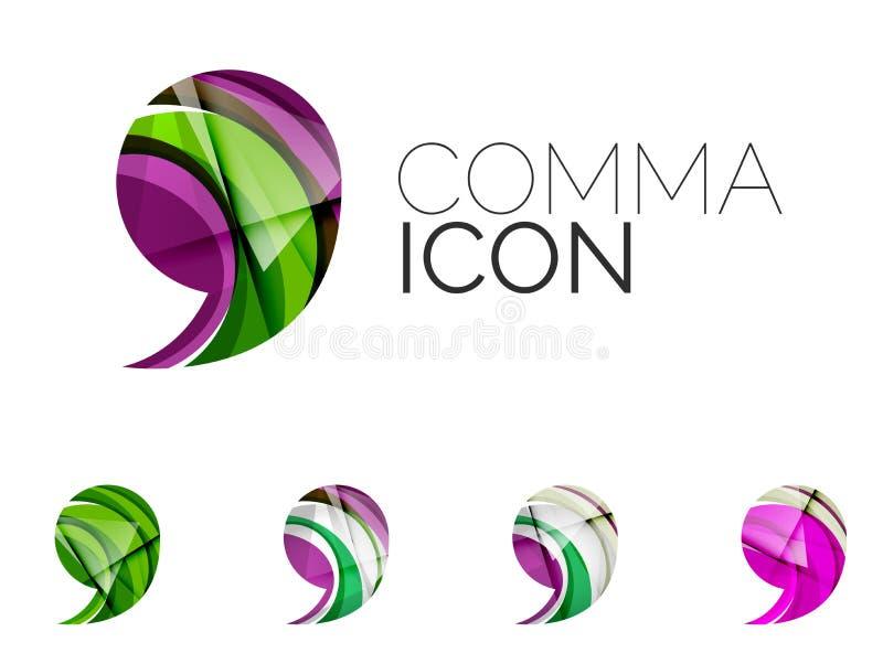 Reeks van abstract kommapictogram, zaken logotype stock illustratie