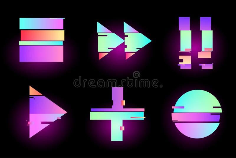 Reeks van abstract minimaal malplaatjeontwerp voor het brandmerken, retro reclame, synthwave holografisch in geometrische glitch  stock illustratie