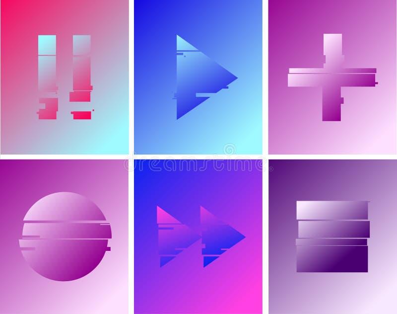 Reeks van abstract minimaal Spel, pauze, verslag, spelknopen malplaatjeontwerp voor het brandmerken, retro reclame, Duotone holog stock illustratie