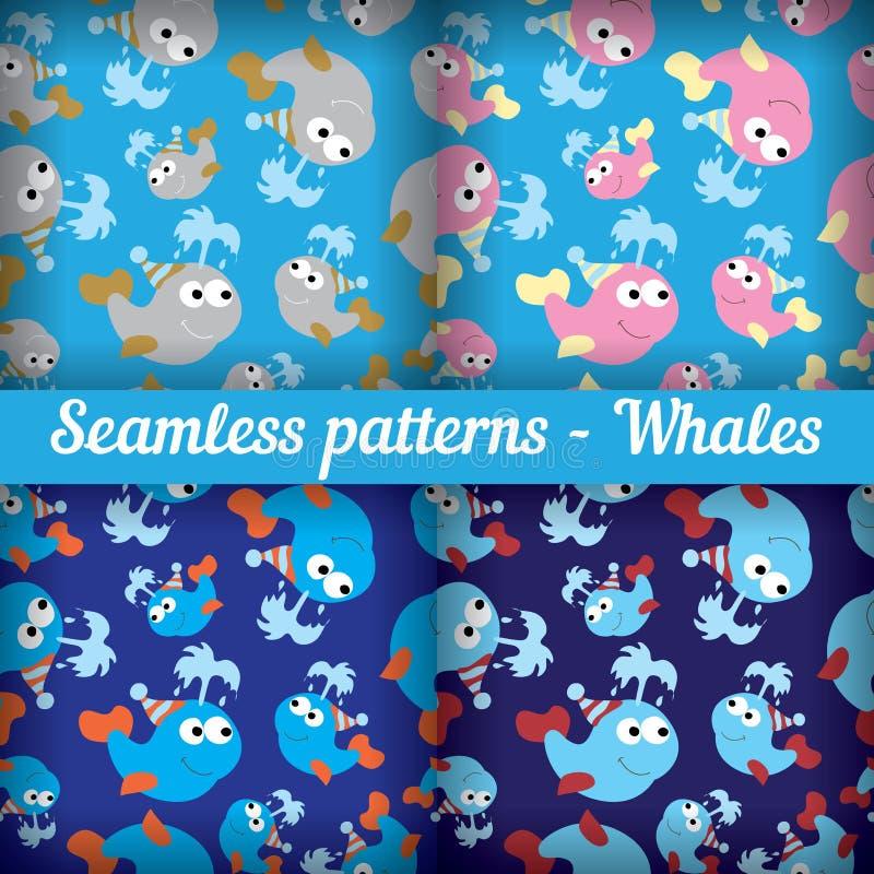 Reeks van abstract naadloos patroon met gekleurde walvissen vector illustratie