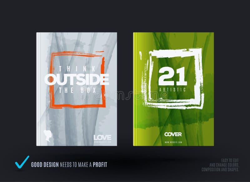 Reeks van abstract ontwerp van bedrijfs vectorbrochure, malplaatjedekking, affiche, affiche royalty-vrije illustratie