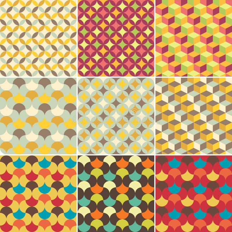 Reeks van abstract retro geometrisch patroon royalty-vrije illustratie