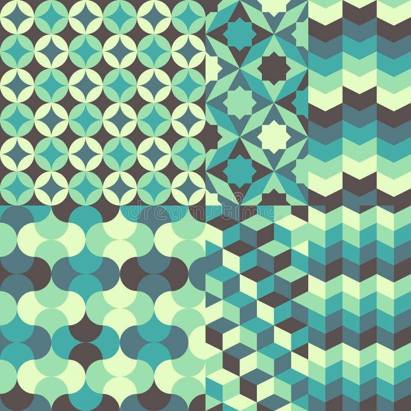 Reeks van abstract retro geometrisch patroon stock illustratie