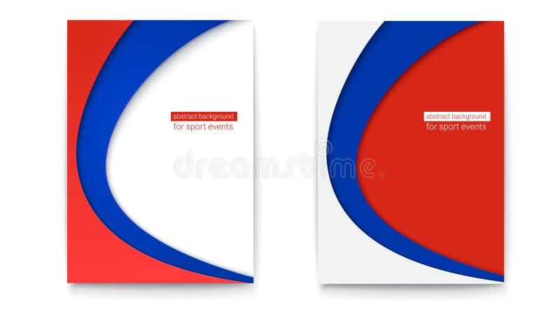 Reeks van abstracte banner met witte, blauwe en rode kleurenachtergrond Affiche voor voetbal of voetbal 2018 wereldkampioenschap stock illustratie