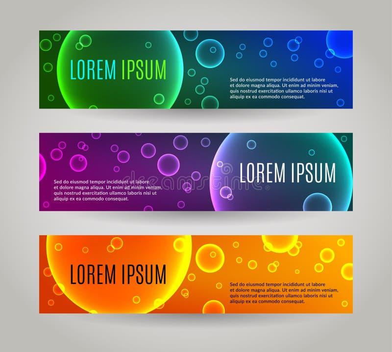 Reeks van 3 abstracte banners met veelvoudige bellen royalty-vrije illustratie