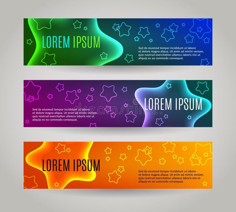 Reeks van 3 abstracte banners met veelvoudige sterren stock illustratie
