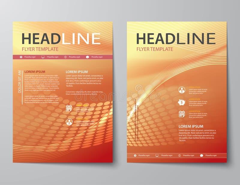 Reeks van abstracte bedrijfstijdschriftdekking, vlieger, brochure vlakke D stock illustratie