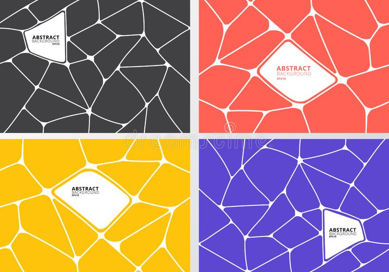 Reeks van abstracte grijze, oranje, gele, purpere geometrische voronoiachtergrond Veelhoekige Mozaïekinzameling royalty-vrije illustratie