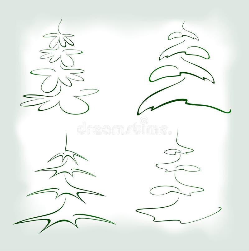 Reeks van abstracte groene Kerstboom in kader EPS10 vectorillustratie royalty-vrije illustratie