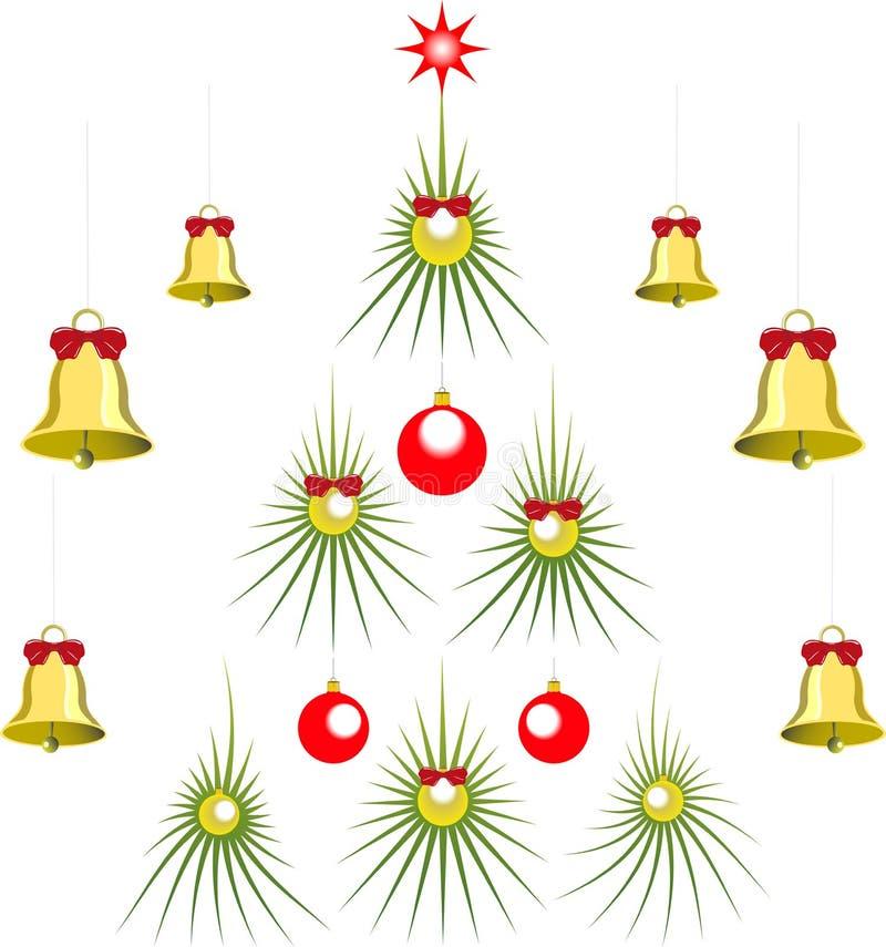 Reeks van abstracte groene Kerstboom met ballen vector illustratie
