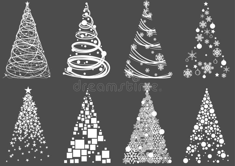 Reeks van Abstracte Kerstboom royalty-vrije illustratie