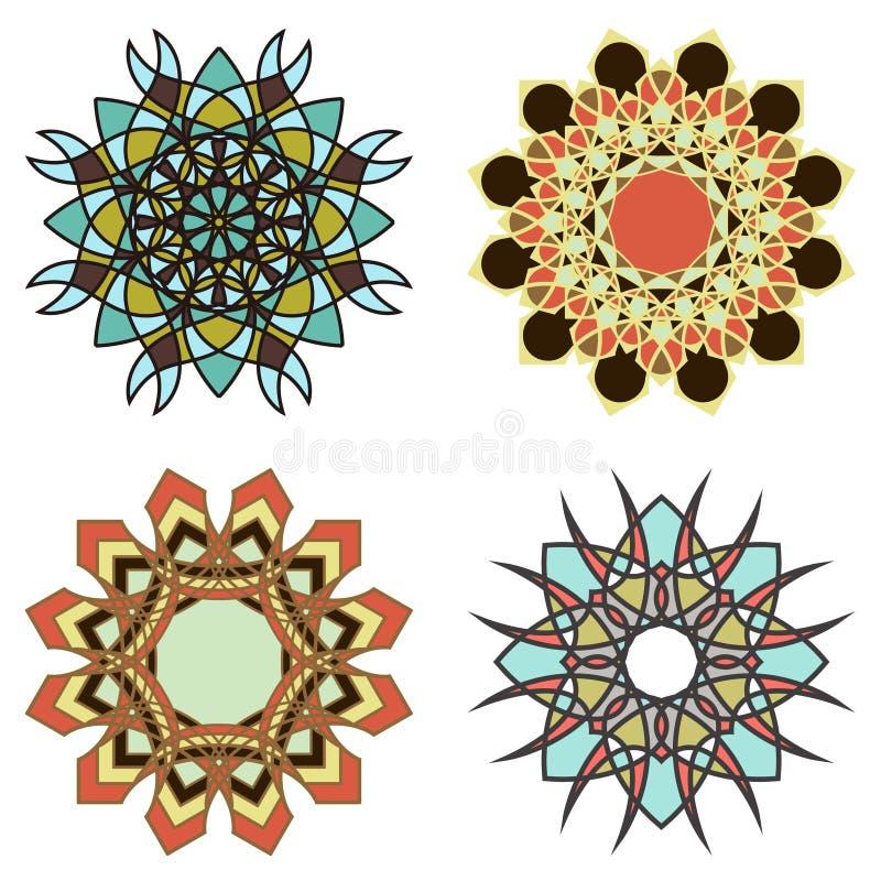 Reeks van abstracte mandala vier vector illustratie