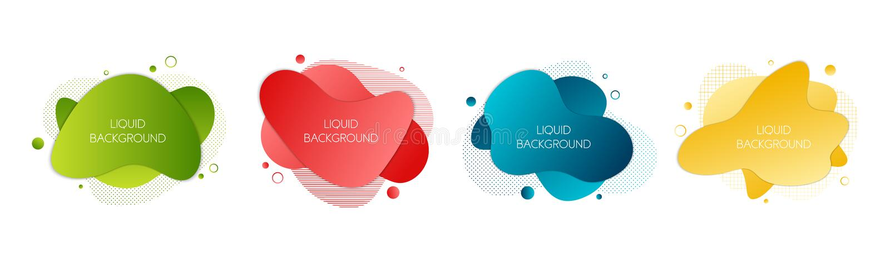 Reeks van 4 abstracte moderne grafische vloeibare elementen Dynamische golven verschillende gekleurde vloeibare vormen Geïsoleerd royalty-vrije illustratie