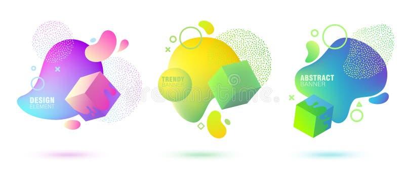 Reeks van abstracte, moderne, vloeibare, in gradiëntbanner Dynamische gekleurde vormen met lijnen, stromende vloeistofvormen en 3 royalty-vrije illustratie