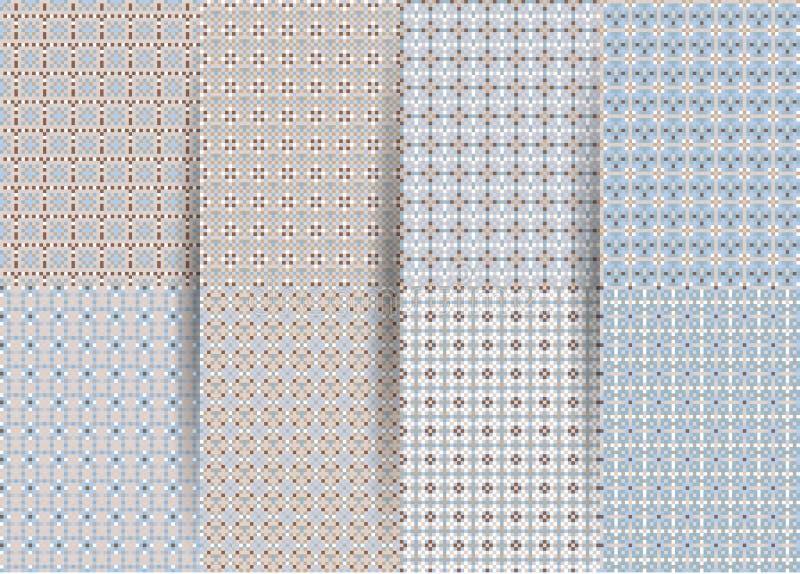 Reeks van 6 abstracte naadloze geruite geometrische patronen Vector blauwe geometrische ackground voor stoffen, drukken, de klere stock illustratie