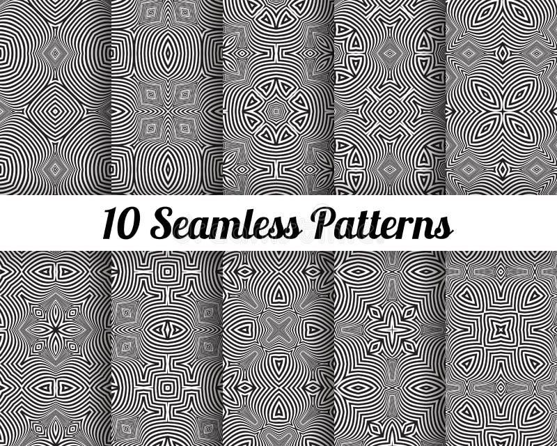 Reeks van 10 Abstracte patronen stock foto's