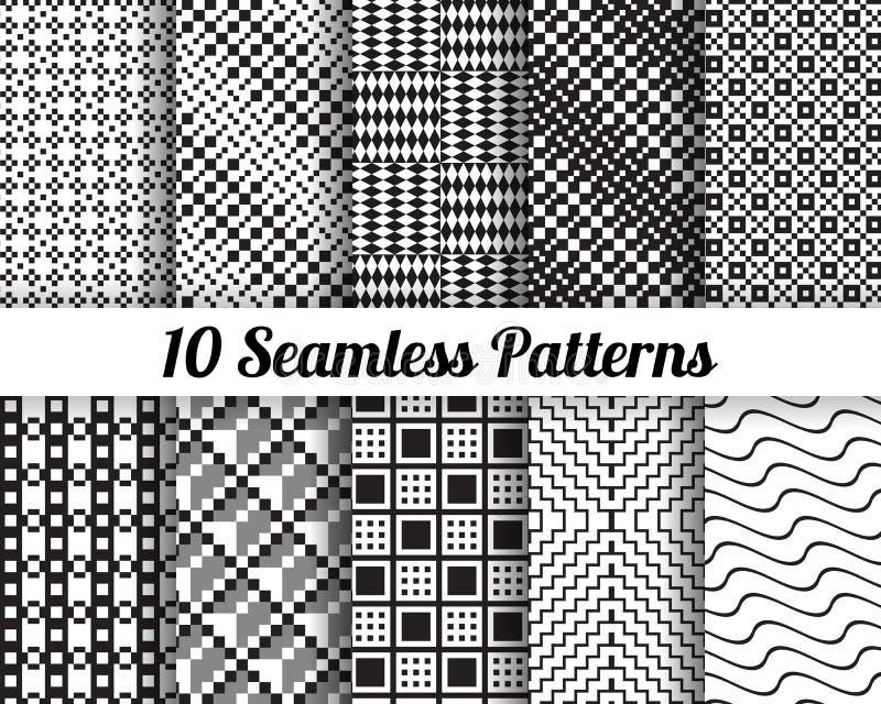 Reeks van 10 Abstracte patronen royalty-vrije stock foto