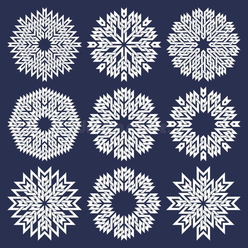 Reeks van acht gerichte cirkelpatronen in Oosterse snijdende lijnenstijl Negen witte mandalas in sneeuwvlokkenvorm vector illustratie