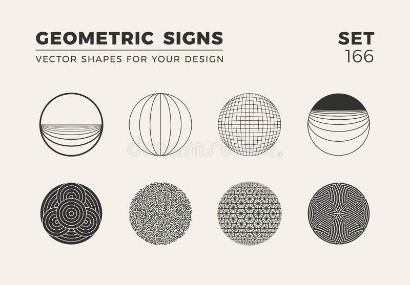 Reeks van acht minimalistic in vormen Modieuze vectorembleememblemen voor Uw ontwerp Eenvoudige geometrische tekensinzameling royalty-vrije illustratie