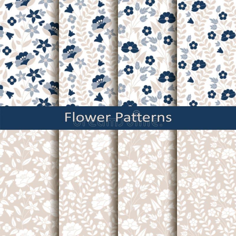 Reeks van acht naadloze vectorbloemhand getrokken patronen ontwerp voor dekking, textiel, verpakking vector illustratie