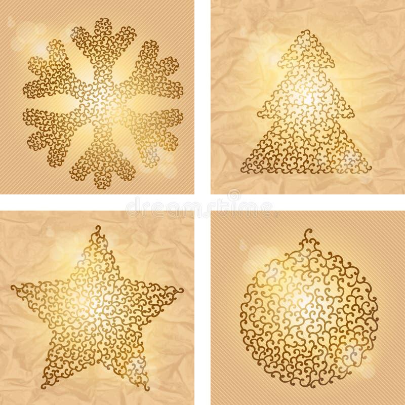 Reeks van 4 achtergronden van de Kerstmiswinter Vector vector illustratie