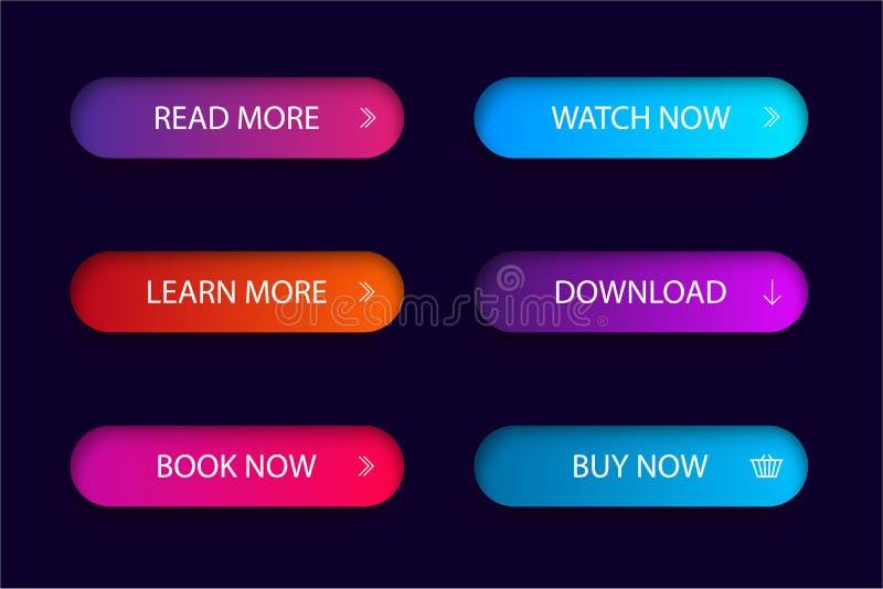 Reeks van in actieknop voor Web, mobiele toepassing Het menu van de malplaatjenavigatieknop Het gradiëntpictogram legt voor winke stock illustratie