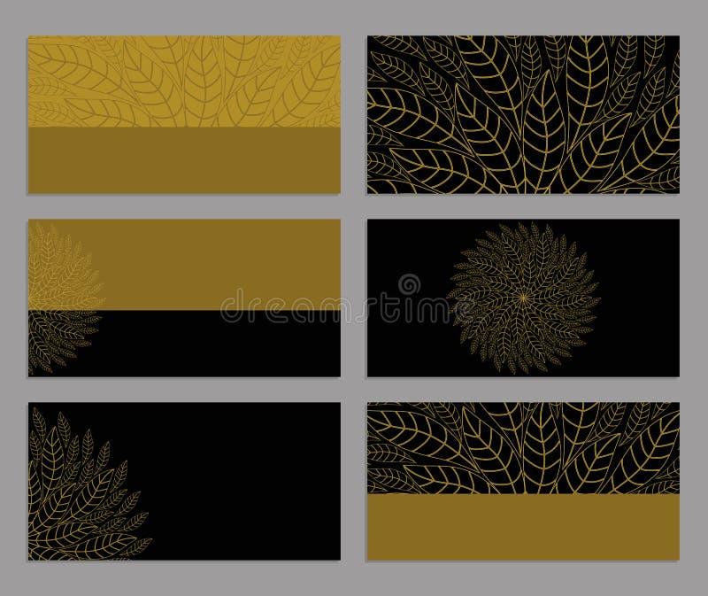 Reeks van adreskaartjes of van uitnodigingsmalplaatjes abstracte achtergrond royalty-vrije illustratie