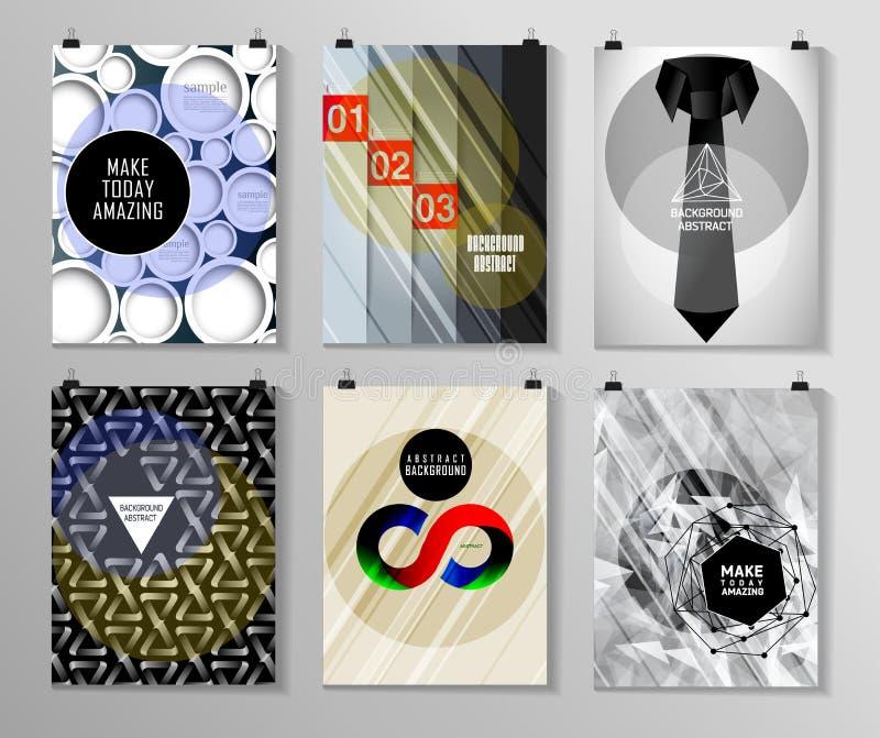 Reeks van affiche, vlieger, de malplaatjes van het brochureontwerp vector illustratie