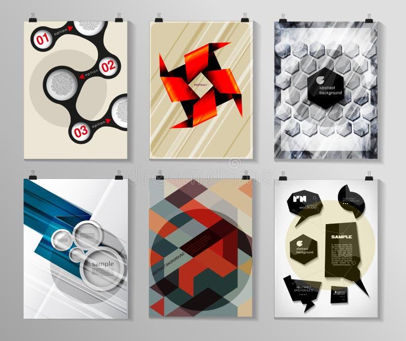Reeks van affiche, vlieger, de malplaatjes van het brochureontwerp royalty-vrije illustratie
