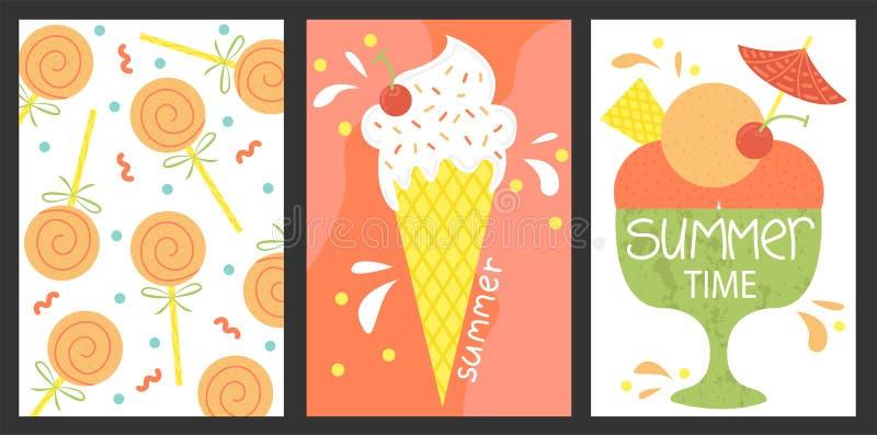 Reeks van 3 affiches van zomer Vectorontwerpconcept voor de zomer Roomijs, de zomersnoepjes royalty-vrije illustratie