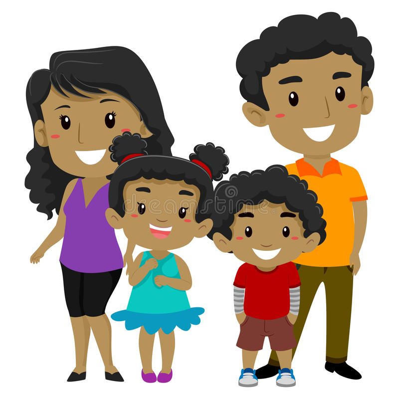 Reeks van Afrikaanse Gelukkige Familie royalty-vrije illustratie