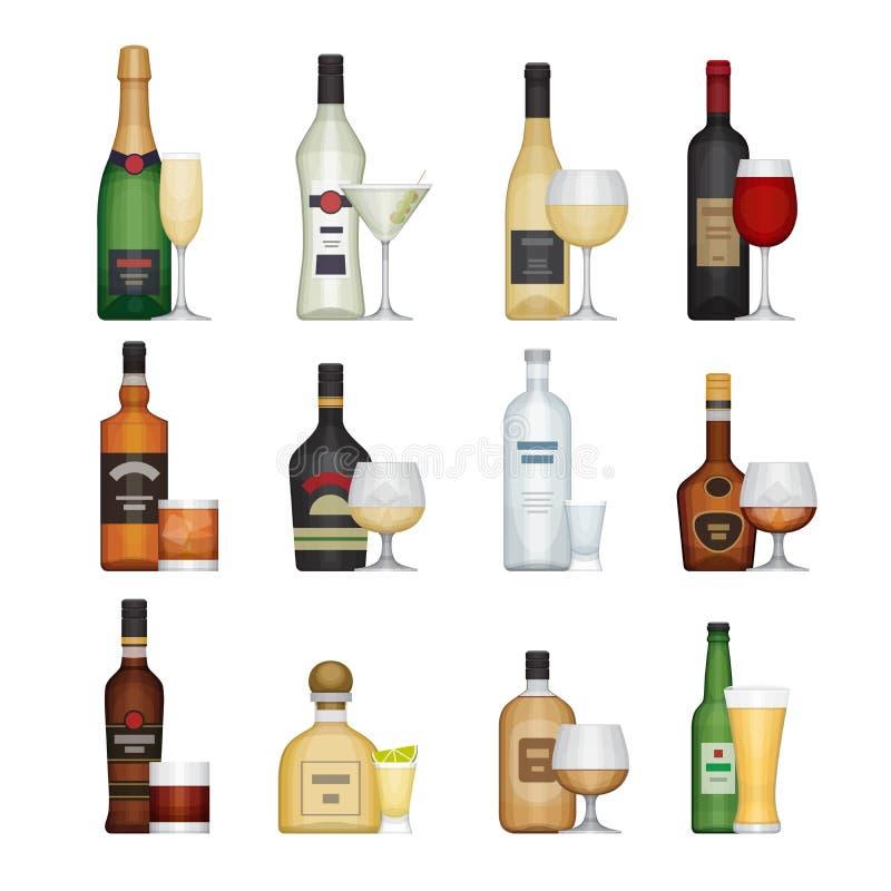 Reeks van alcoholfles met glazen Alcoholdranken en dranken stock illustratie